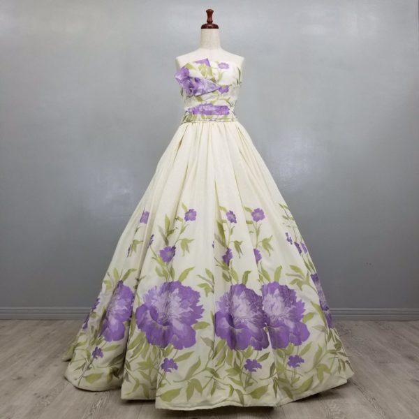 カラードレス 花柄 プリント