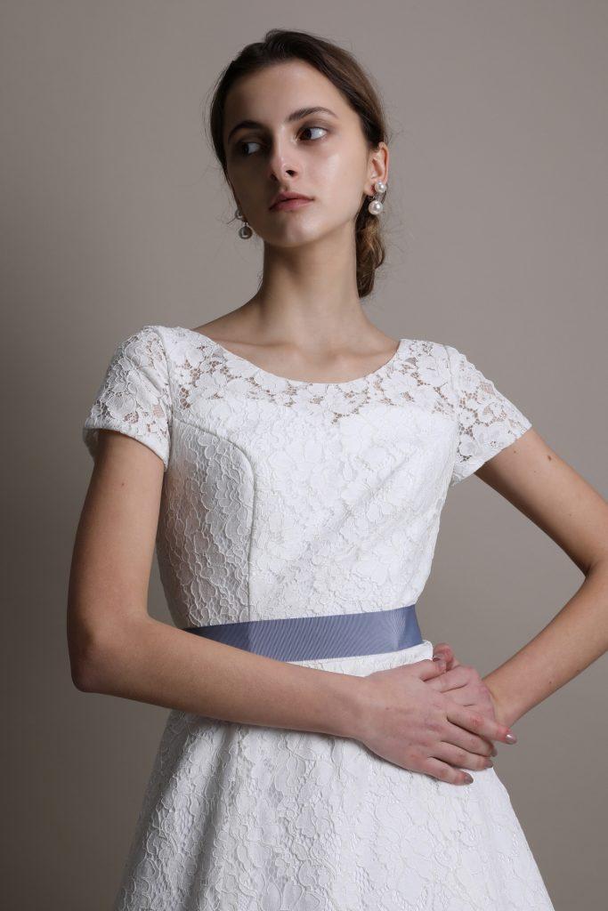 ウェディングドレス 半袖Aライン
