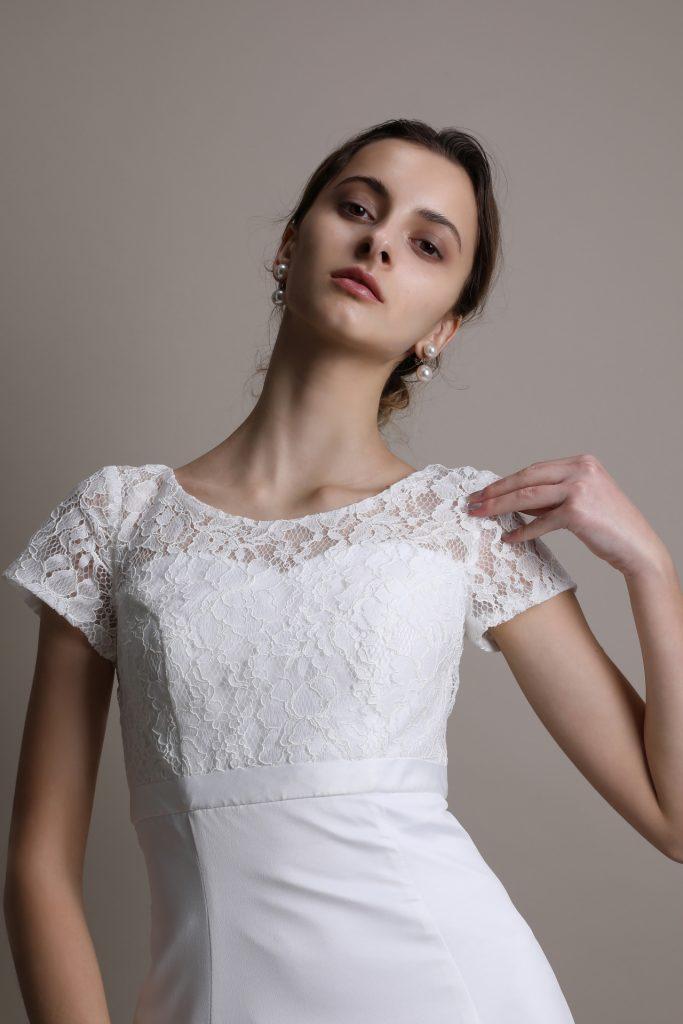 ウェディングドレス 半袖